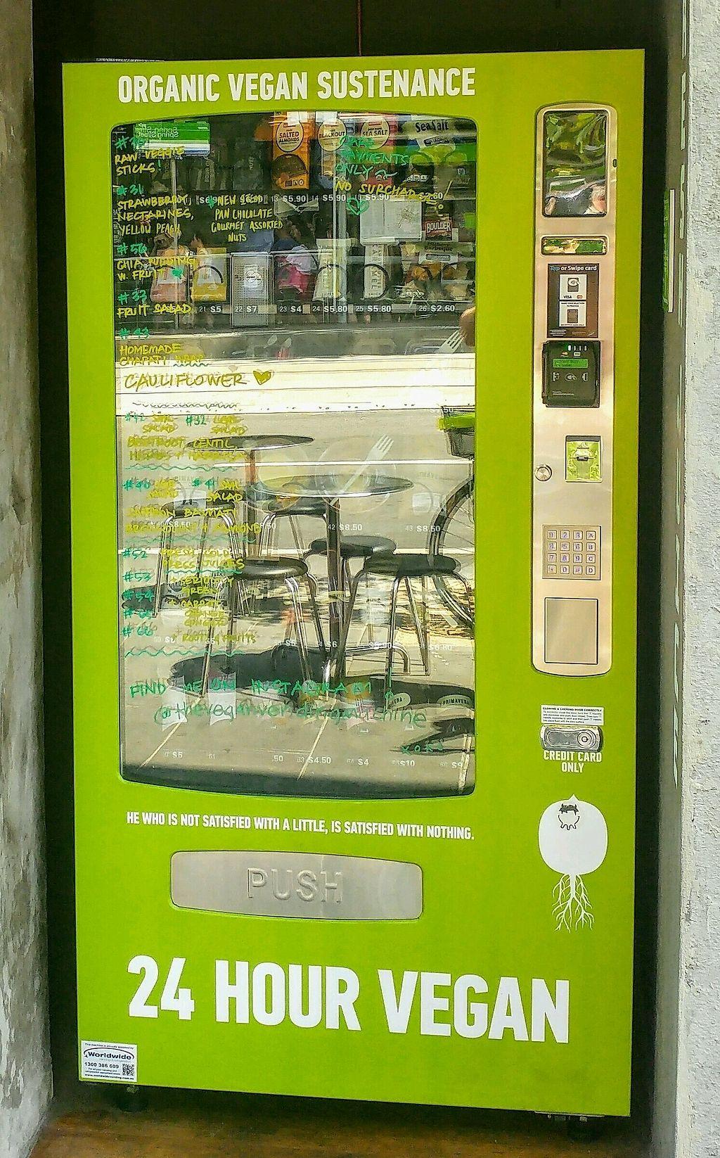 "Photo of 24 Hour Vegan Vending Machine  by <a href=""/members/profile/verbosity"">verbosity</a> <br/>Vegan Vending Machine <br/> January 26, 2018  - <a href='/contact/abuse/image/106873/350956'>Report</a>"