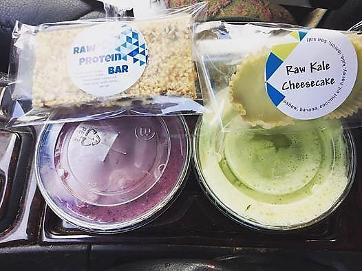 """Photo of Wild Blue  by <a href=""""/members/profile/BeccaBochenek"""">BeccaBochenek</a> <br/>Blue's Tonic and Strong Man smoothies. Raw Sesame bar and Raw Kale Cheesecake. Photo by Rebecca Bochenek <br/> December 14, 2017  - <a href='/contact/abuse/image/106936/335504'>Report</a>"""