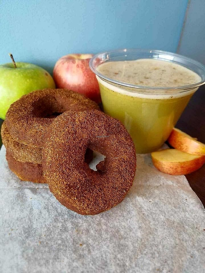 """Photo of Wild Blue  by <a href=""""/members/profile/BeccaBochenek"""">BeccaBochenek</a> <br/>Healthy Apple Cinnamon RAW donuts and cider....mmmmm! Photo by Wild Blue Grand Haven.  <br/> December 14, 2017  - <a href='/contact/abuse/image/106936/335505'>Report</a>"""