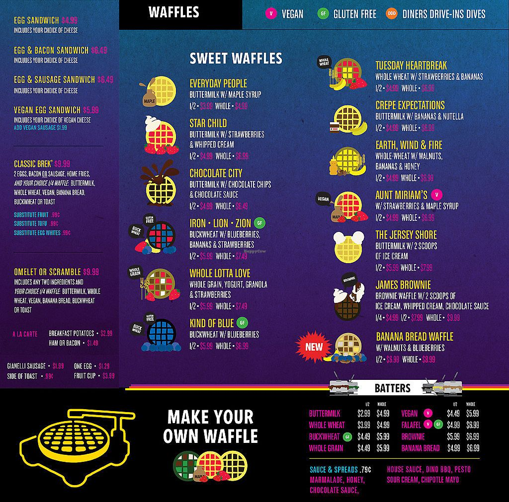 """Photo of Funk 'n Waffles  by <a href=""""/members/profile/Michael%20Isavegan"""">Michael Isavegan</a> <br/>Colorful menu with clearly marked vegan items <br/> December 12, 2017  - <a href='/contact/abuse/image/106995/334813'>Report</a>"""