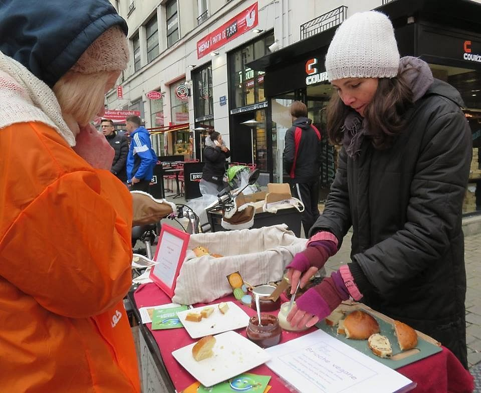 """Photo of Vegane de Bretagne  by <a href=""""/members/profile/thenaturalfusions"""">thenaturalfusions</a> <br/>L214 action in Nantes <br/> January 16, 2018  - <a href='/contact/abuse/image/107008/347246'>Report</a>"""