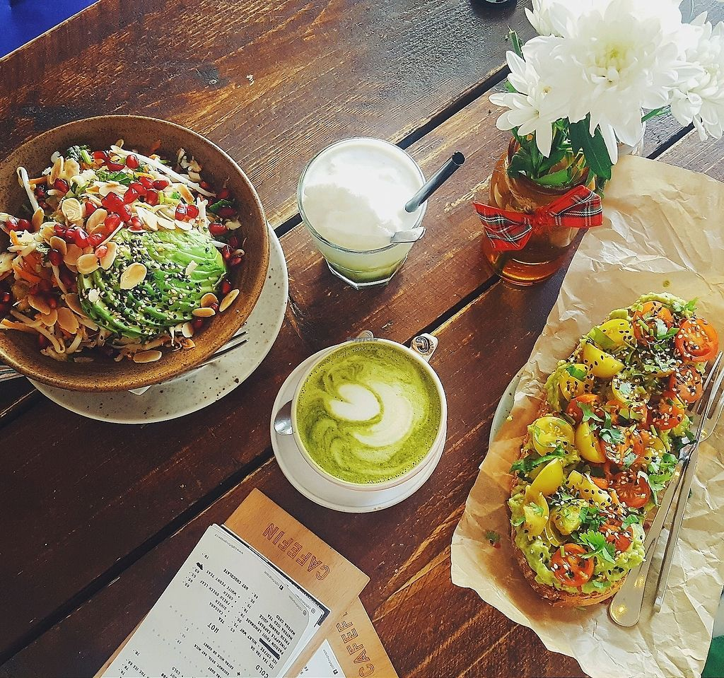 """Photo of Cafefin  by <a href=""""/members/profile/Zuzkaa"""">Zuzkaa</a> <br/>avocado toast, matcha latte with soy milk, salad with avocado and almond slices <br/> February 17, 2018  - <a href='/contact/abuse/image/107037/360320'>Report</a>"""