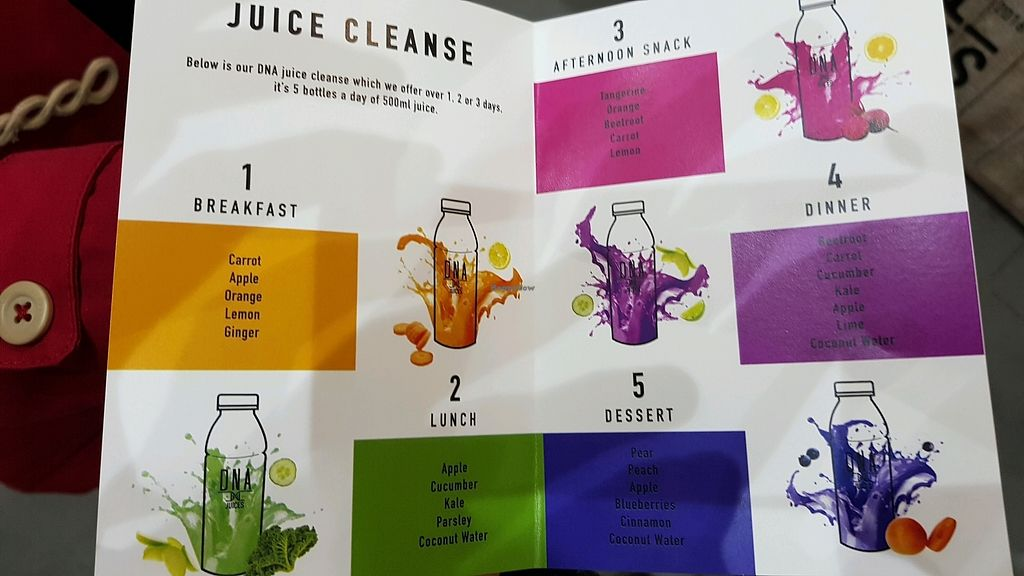"""Photo of DNA Juices  by <a href=""""/members/profile/jollypig"""">jollypig</a> <br/>Menu <br/> March 11, 2018  - <a href='/contact/abuse/image/107088/369229'>Report</a>"""