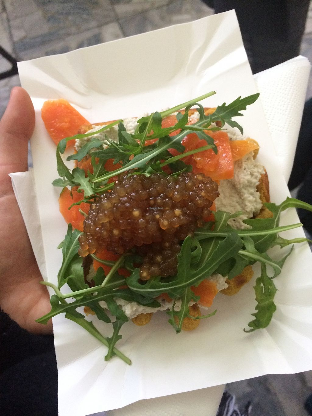 """Photo of Kuchnia PoWolność  by <a href=""""/members/profile/rabarbar"""">rabarbar</a> <br/>waffle with salmon carrot and caviar <br/> January 28, 2018  - <a href='/contact/abuse/image/107094/351834'>Report</a>"""