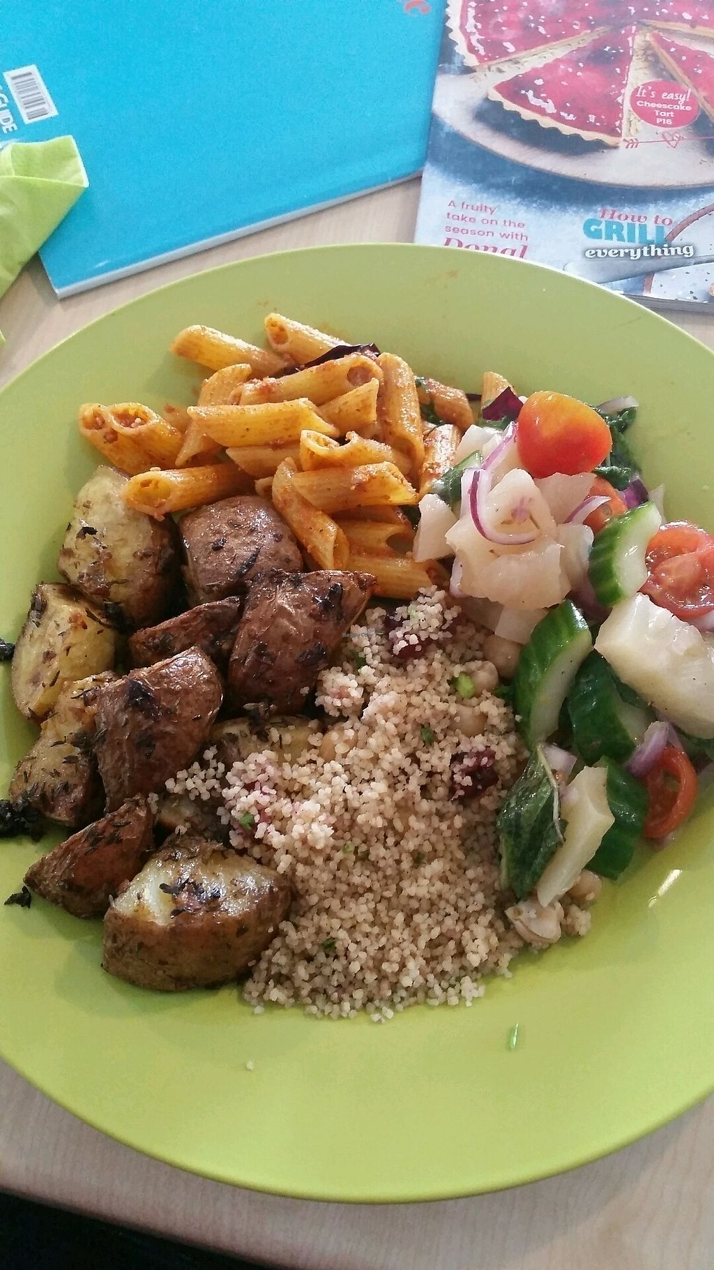 """Photo of Nutrilicious Food Co  by <a href=""""/members/profile/Veronica155"""">Veronica155</a> <br/>cous cous with chickpeas and cranberries and pesto pasta, salsa, roasted potatoes with balsmatic vinegar <br/> April 14, 2018  - <a href='/contact/abuse/image/107177/385733'>Report</a>"""