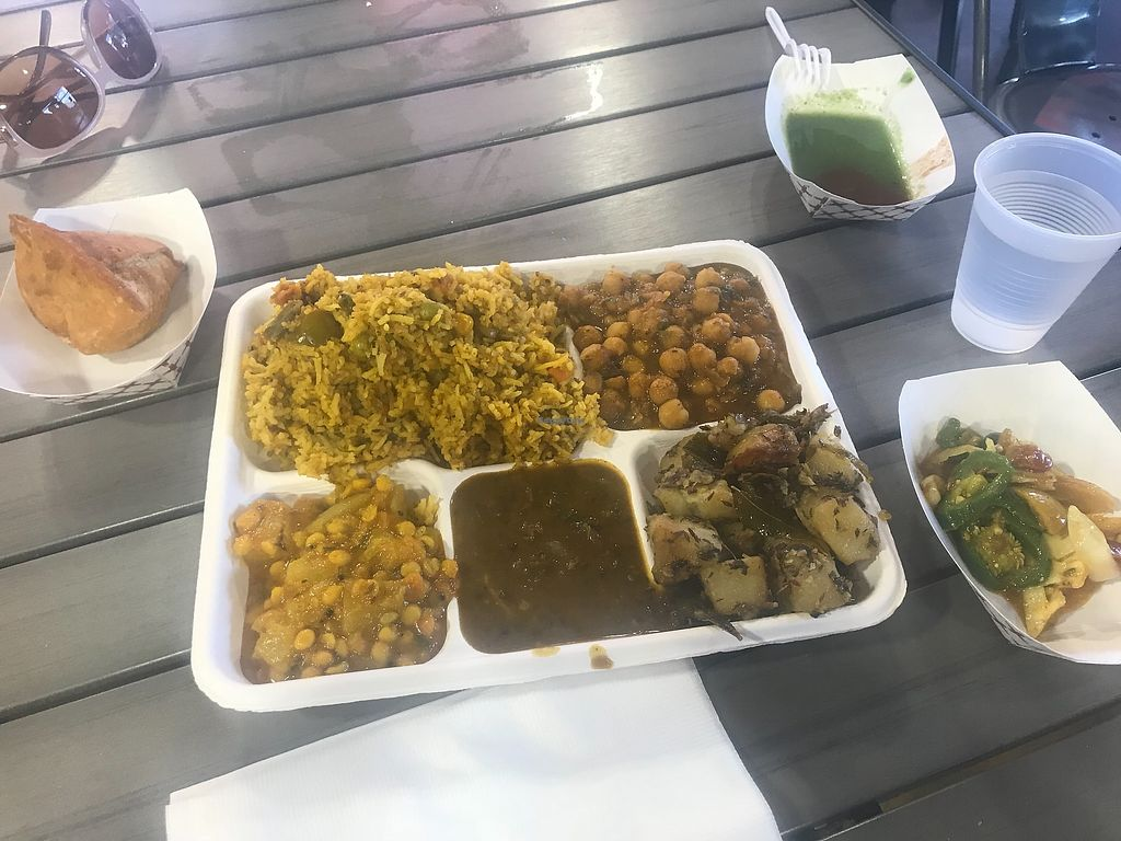 """Photo of Namaste Spiceland  by <a href=""""/members/profile/animalattorney"""">animalattorney</a> <br/>Vegan lunch at spice land =)  The stuff on the bottom left corner of the plate was AMAZING! <br/> February 14, 2018  - <a href='/contact/abuse/image/107206/359458'>Report</a>"""