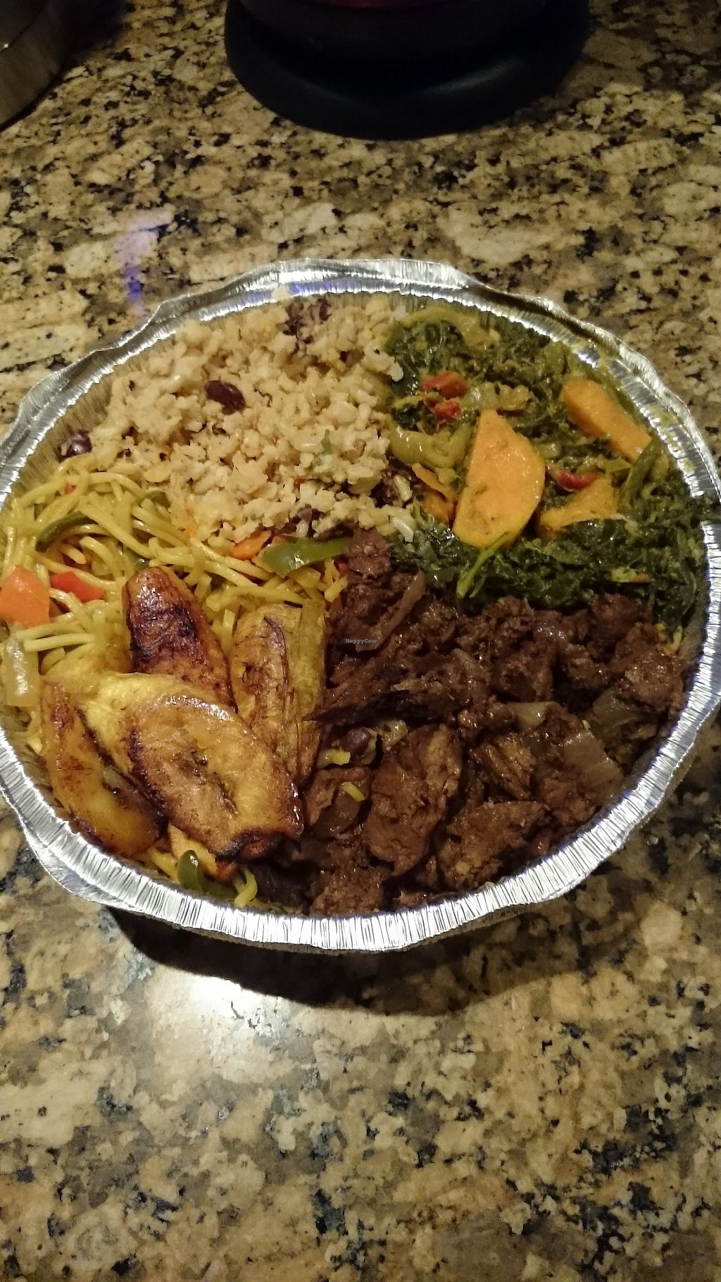 """Photo of Luvinya-215  by <a href=""""/members/profile/ZoraySpielvogel"""">ZoraySpielvogel</a> <br/>This humongous plater was only $10. It had rice,fried plantains, greens,  BBQ seitan, noodles & some mixed veggies.  <br/> January 30, 2018  - <a href='/contact/abuse/image/107242/352903'>Report</a>"""