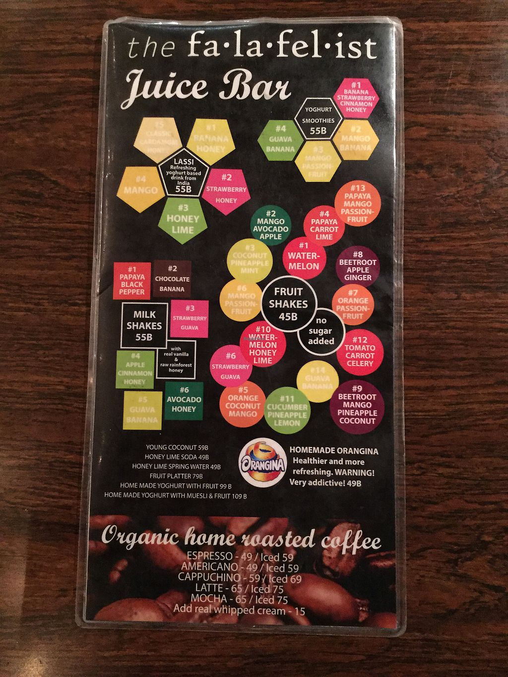 """Photo of The Falafelist  by <a href=""""/members/profile/Mike%20Munsie"""">Mike Munsie</a> <br/>juice bar menu <br/> February 9, 2018  - <a href='/contact/abuse/image/107269/356754'>Report</a>"""