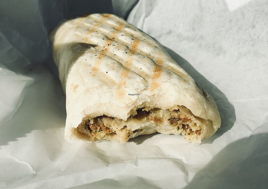 """Photo of 3 Bees Cafe  by <a href=""""/members/profile/Clean%26Green"""">Clean&Green</a> <br/>Falafel, hummus & potato wrap <br/> December 15, 2017  - <a href='/contact/abuse/image/107313/335903'>Report</a>"""