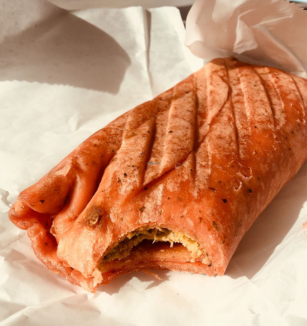 """Photo of 3 Bees Cafe  by <a href=""""/members/profile/Clean%26Green"""">Clean&Green</a> <br/>Falafel and spicy hummus wrap (yum) <br/> January 19, 2018  - <a href='/contact/abuse/image/107313/348590'>Report</a>"""