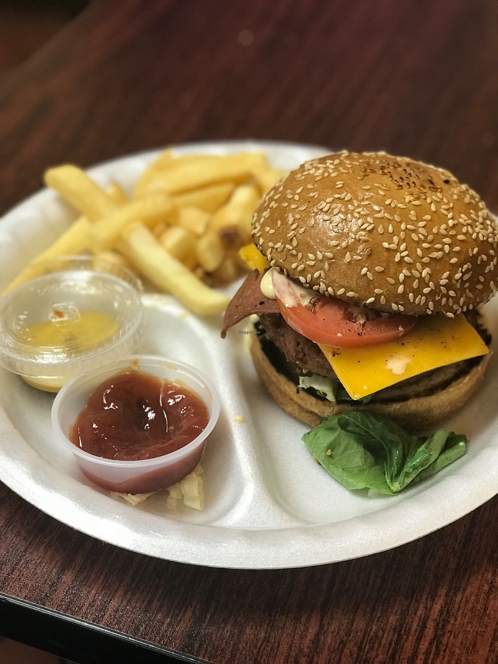 """Photo of Veganos Kitchen  by <a href=""""/members/profile/Spacetaco713"""">Spacetaco713</a> <br/>Beyond burger with bacon and cheese <br/> January 21, 2018  - <a href='/contact/abuse/image/107317/349480'>Report</a>"""