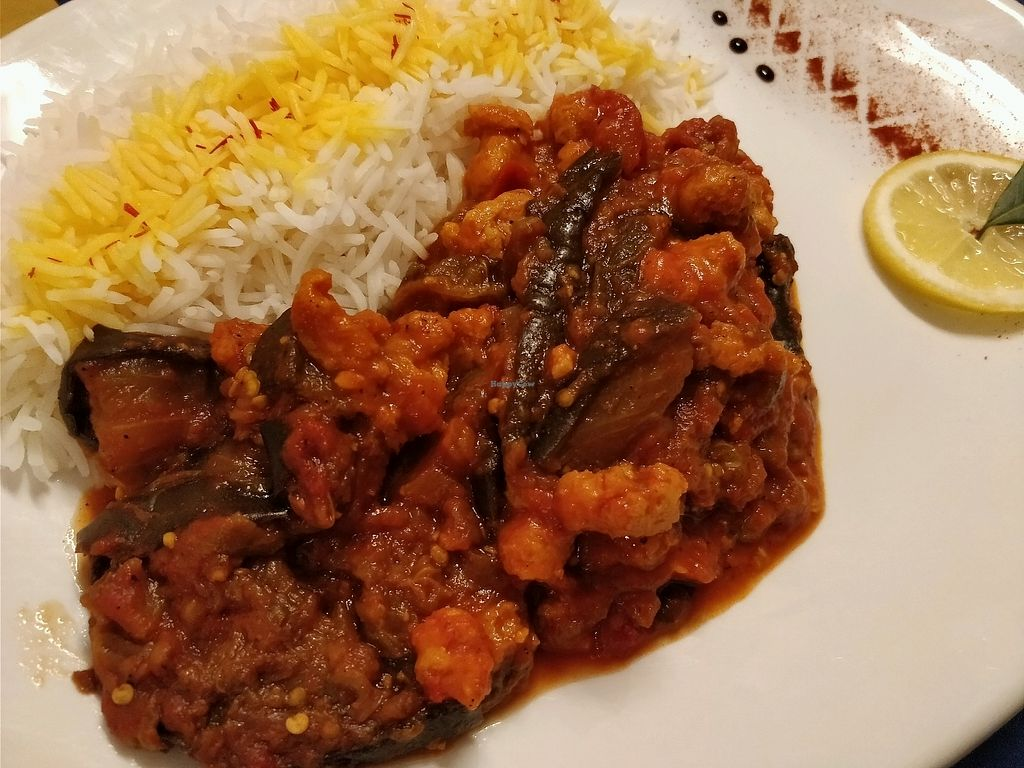 "Photo of Cardamom Persian Palace  by <a href=""/members/profile/JimmySeah"">JimmySeah</a> <br/>Celo Khoresh Bademjan (eggplant, Tomato, sour grapes, served with steam rice.  <br/> April 8, 2018  - <a href='/contact/abuse/image/107324/382558'>Report</a>"