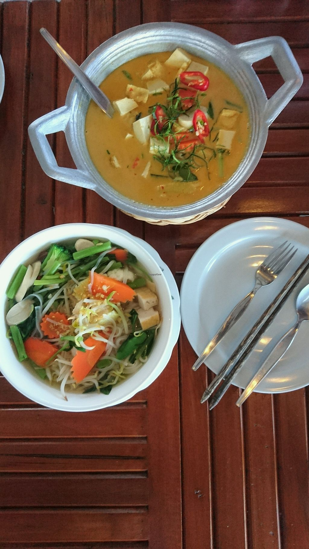 """Photo of Pinto Restaurant  by <a href=""""/members/profile/AnthonyMTL"""">AnthonyMTL</a> <br/>Vegan Clear Soup with Rice noodles and Vegetables + Vegan Panang Curry with tofu <br/> December 17, 2017  - <a href='/contact/abuse/image/107357/336315'>Report</a>"""