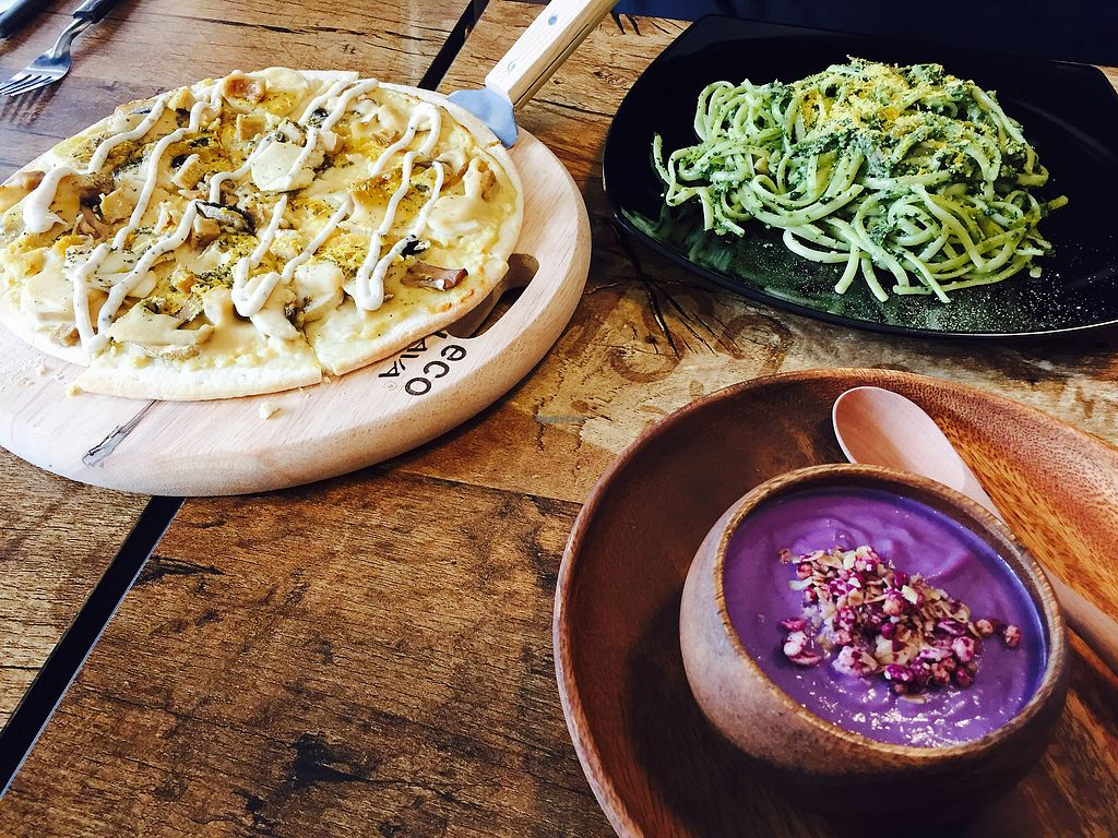 "Photo of Cozy Corner  by <a href=""/members/profile/ClaireClements"">ClaireClements</a> <br/>Mushroom pizza, purple sweet potato soup and pasta  <br/> April 7, 2018  - <a href='/contact/abuse/image/107367/381924'>Report</a>"