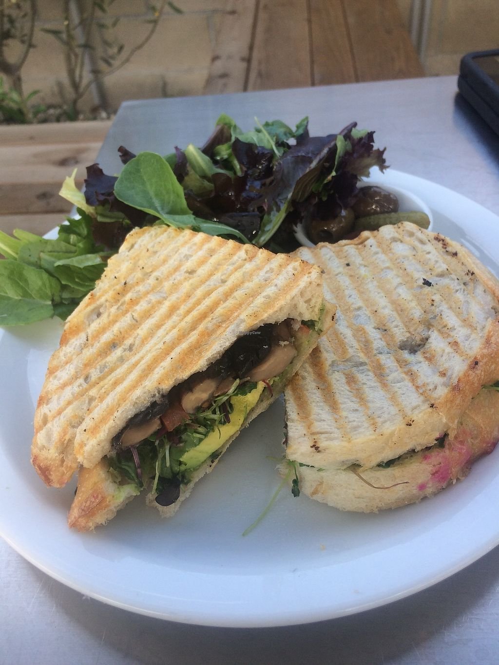 "Photo of Cafe Smitten  by <a href=""/members/profile/glassesgirl79"">glassesgirl79</a> <br/>Vegan portobello mushroom sandwich with salad <br/> December 17, 2017  - <a href='/contact/abuse/image/107421/336651'>Report</a>"