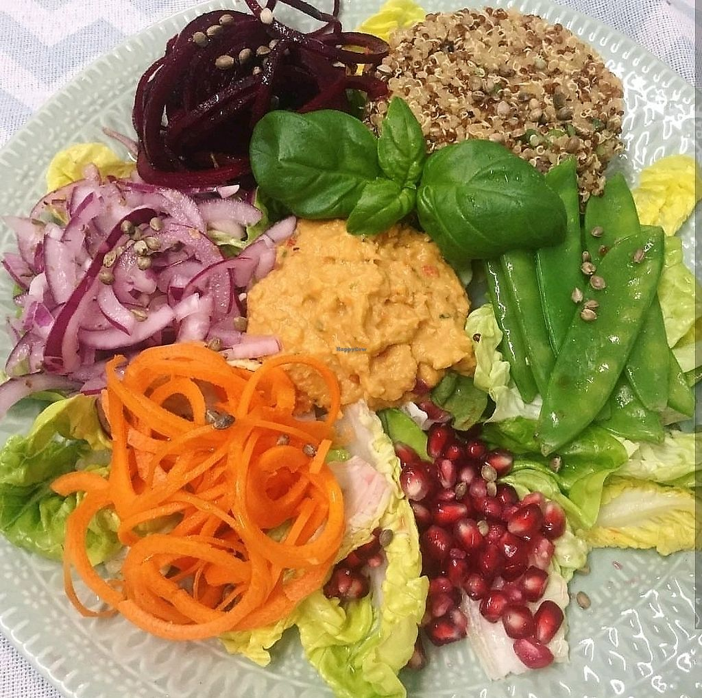 """Photo of The Planted Bean  by <a href=""""/members/profile/fooltothink"""">fooltothink</a> <br/>Buddha Bowl - Roast pepper and tomato hummus, pickled red onion, Asian inspired red and white quinoa, mangetout, pomegranate, balsamic raw beetroot spaghetti, lemon carrot swirls, gem lettuce, toasted hemp seeds <br/> December 28, 2017  - <a href='/contact/abuse/image/107487/340209'>Report</a>"""
