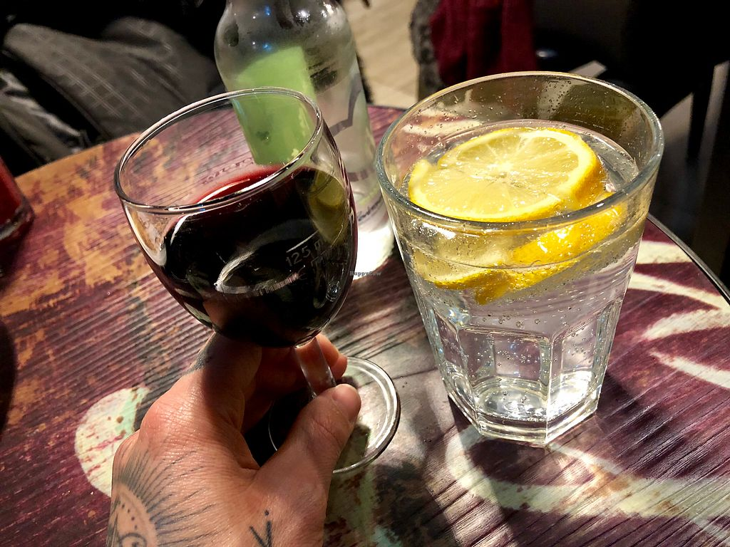 """Photo of Vantra Loungevity   by <a href=""""/members/profile/marky_mark"""">marky_mark</a> <br/>red wine & sparkling watet <br/> April 11, 2018  - <a href='/contact/abuse/image/107557/384006'>Report</a>"""