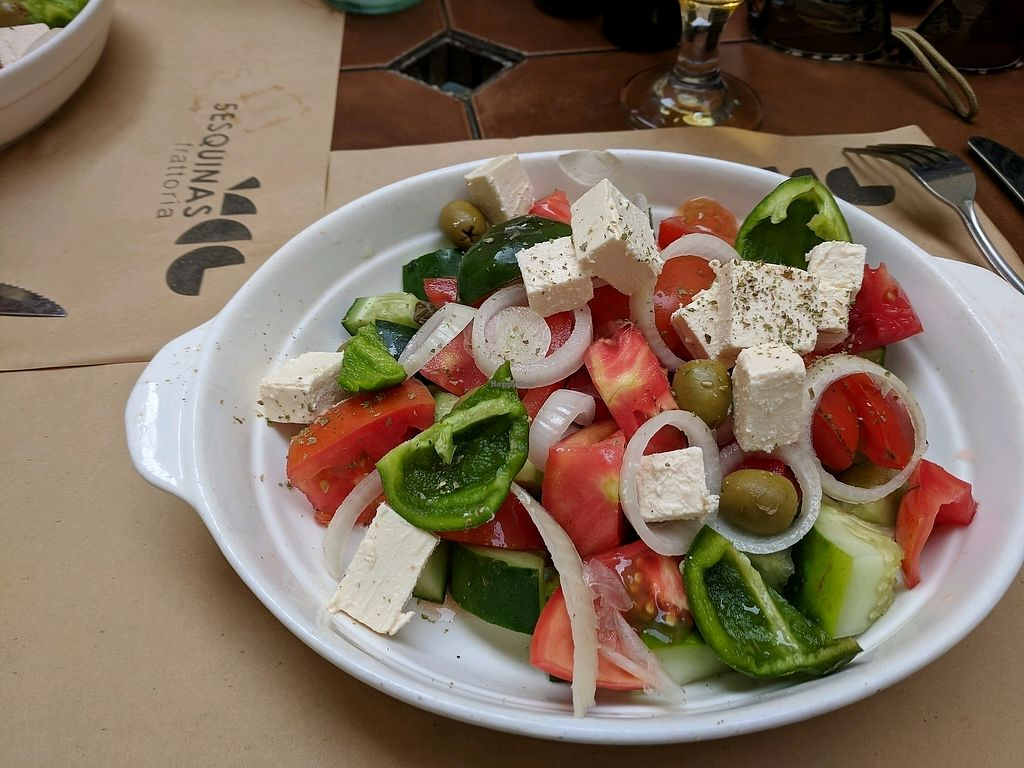 "Photo of 5 Esquinas Trattoria  by <a href=""/members/profile/zenmaestro"">zenmaestro</a> <br/>excellent greek salad. I think greek. anyway, it's excellent <br/> December 31, 2017  - <a href='/contact/abuse/image/107562/341131'>Report</a>"
