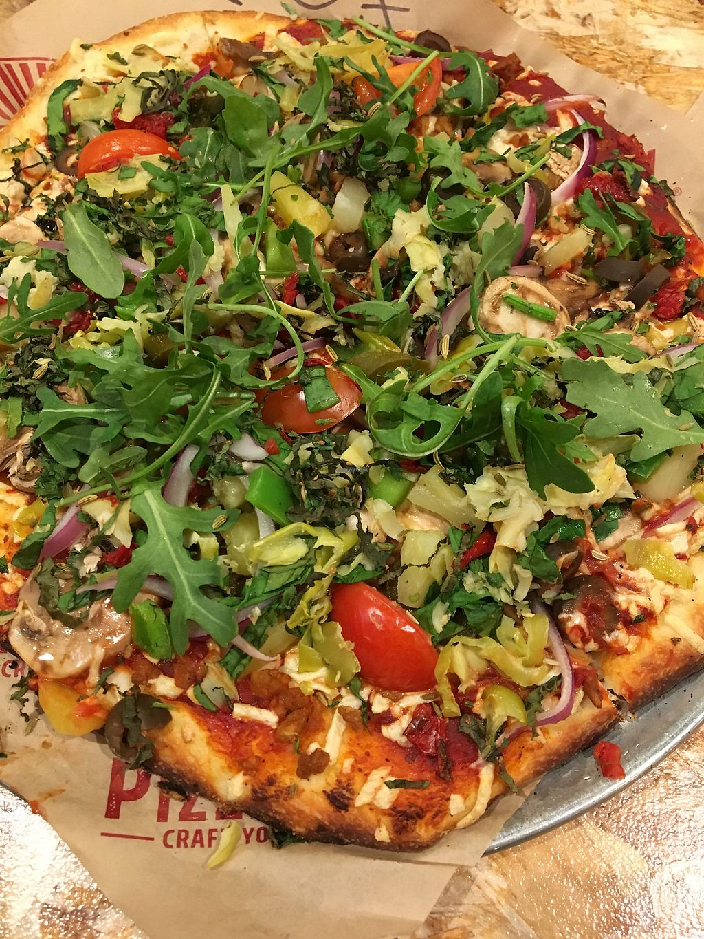 """Photo of PizzaRev  by <a href=""""/members/profile/RyanSt"""">RyanSt</a> <br/>Double dough with vegan cheese and sausage plus all the veggies! <br/> January 21, 2018  - <a href='/contact/abuse/image/107596/349219'>Report</a>"""