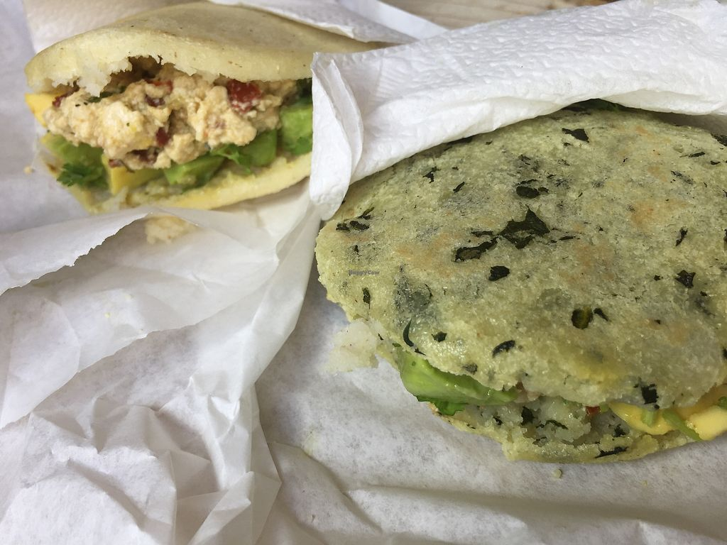 """Photo of Peanuts Fresh Market Cafe  by <a href=""""/members/profile/Eefie"""">Eefie</a> <br/>Arepas with tofu & sundried tomatoes  <br/> December 27, 2017  - <a href='/contact/abuse/image/107619/339483'>Report</a>"""