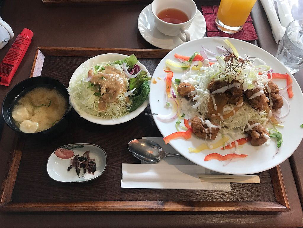 """Photo of Itadaki Kinkakuji  by <a href=""""/members/profile/MelissaW"""">MelissaW</a> <br/>Soy meat, rice and salad <br/> January 31, 2018  - <a href='/contact/abuse/image/107641/353151'>Report</a>"""