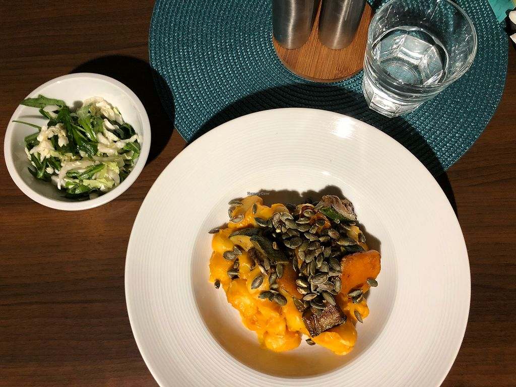 "Photo of Alanda  by <a href=""/members/profile/Anna%C5%A0vantnerov%C3%A1"">AnnaŠvantnerová</a> <br/>Creamy pumpkin gnocchi with seeds and salad <br/> April 11, 2018  - <a href='/contact/abuse/image/107670/383810'>Report</a>"