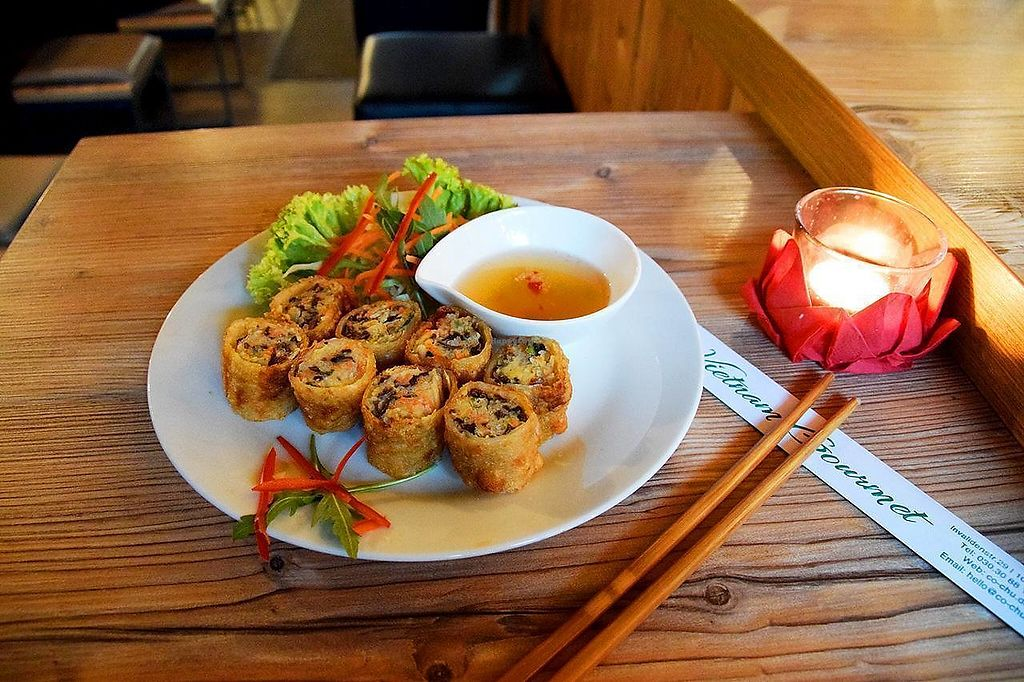 """Photo of Co Chu  by <a href=""""/members/profile/VeganTravelStory"""">VeganTravelStory</a> <br/>Vegetarian springrolls <br/> December 22, 2017  - <a href='/contact/abuse/image/107701/337997'>Report</a>"""