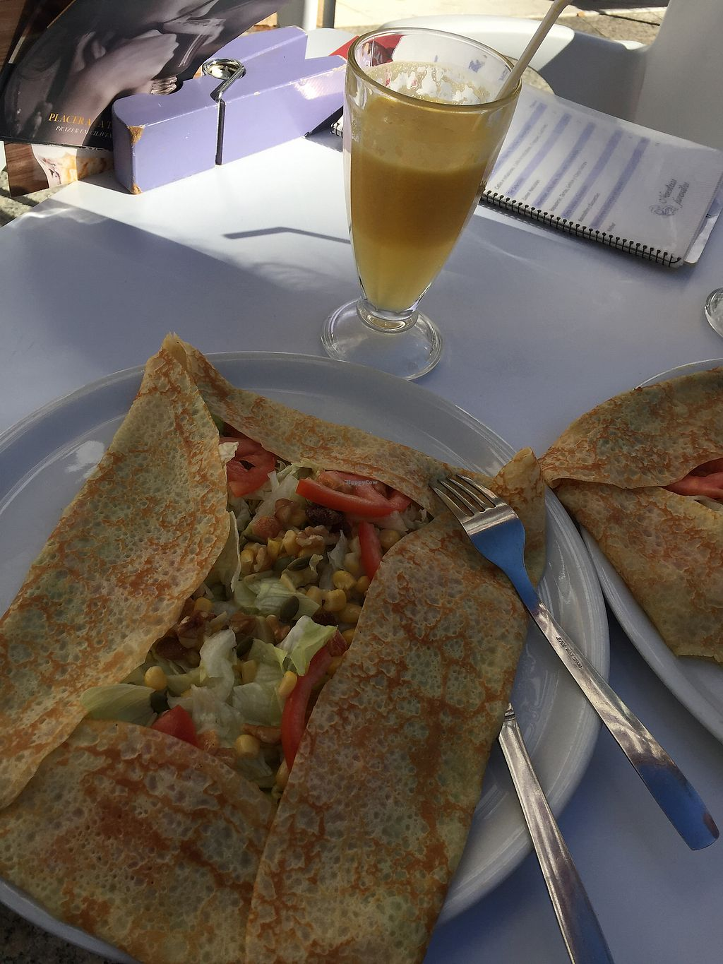 """Photo of Cafe de Agata  by <a href=""""/members/profile/AlexanderHindsberg"""">AlexanderHindsberg</a> <br/>Vegan Crepes & fresh orange juice with ginger <br/> December 22, 2017  - <a href='/contact/abuse/image/107703/338009'>Report</a>"""