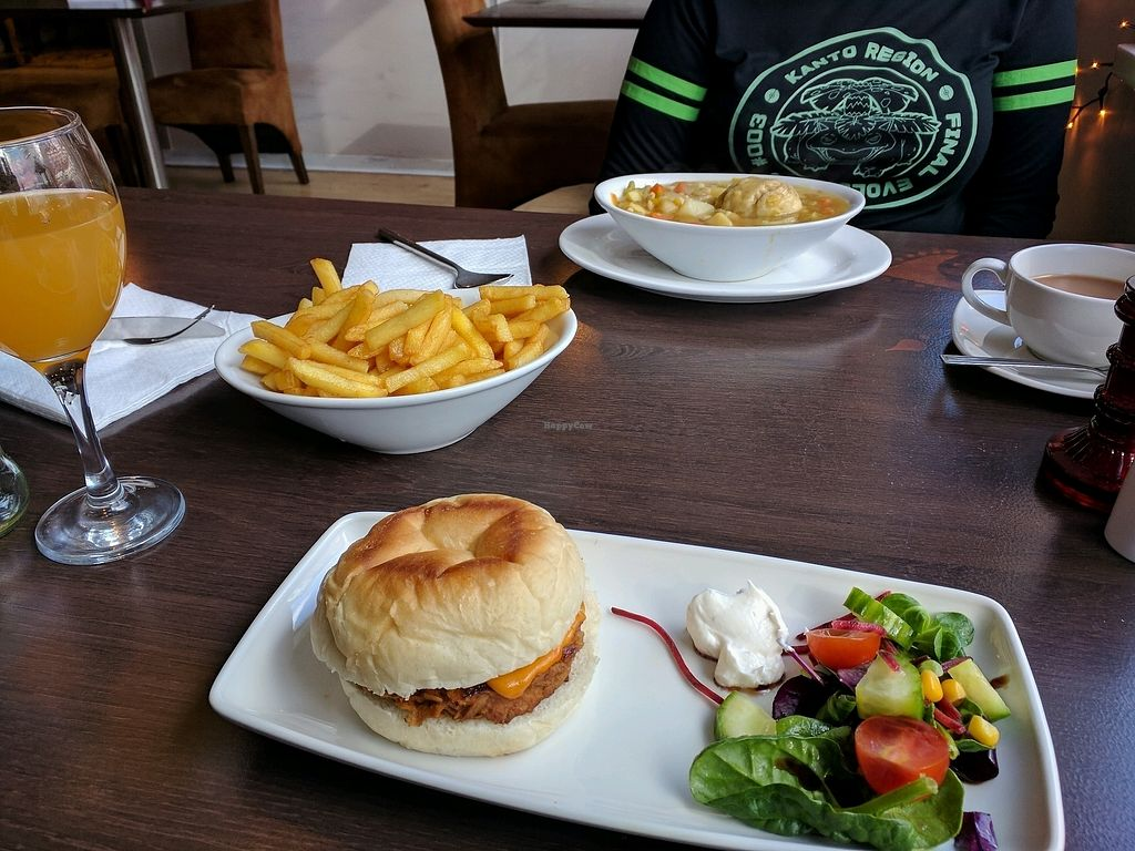 "Photo of Phoenix Plant Based Eatery  by <a href=""/members/profile/GarethMiller"">GarethMiller</a> <br/>Pulled pork burger with fries. Veg stew with dumplings <br/> February 27, 2018  - <a href='/contact/abuse/image/107714/364495'>Report</a>"