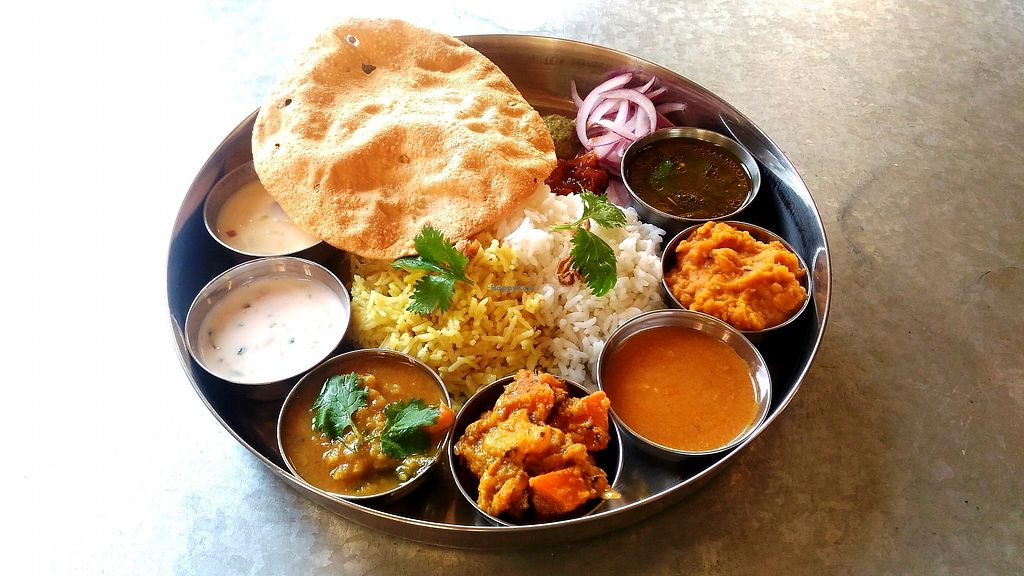 """Photo of Milenga  by <a href=""""/members/profile/Tomomi13"""">Tomomi13</a> <br/>Deluxe veggie thali lunch (free refills) <br/> April 2, 2018  - <a href='/contact/abuse/image/107756/379699'>Report</a>"""
