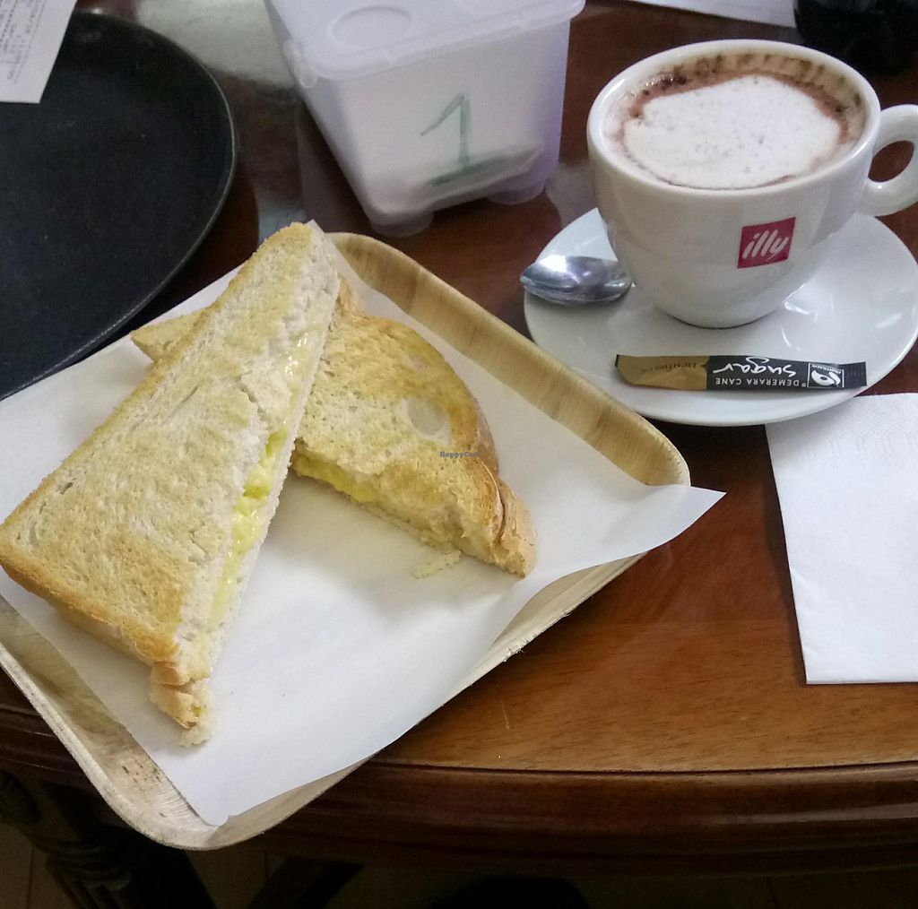 "Photo of Purple Cat Cafe  by <a href=""/members/profile/vegnbee"">vegnbee</a> <br/>Vegan toastie and hot chocolate at Purple Cat Cafe <br/> April 24, 2018  - <a href='/contact/abuse/image/107773/390714'>Report</a>"