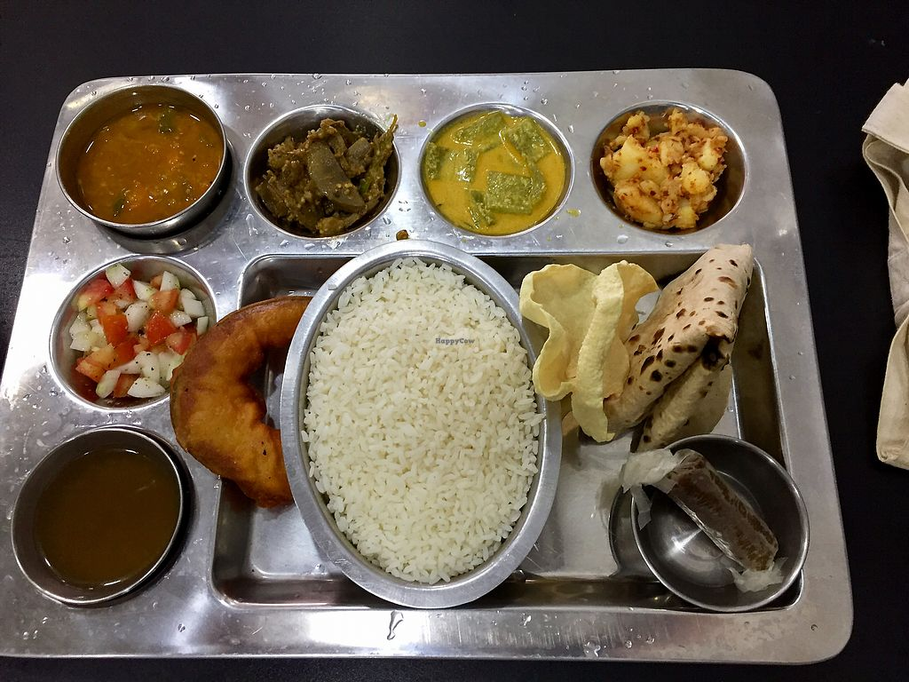 """Photo of Nagalingam's Bhavan  by <a href=""""/members/profile/peterstuckings"""">peterstuckings</a> <br/>Indian Thali, vegan version <br/> February 15, 2018  - <a href='/contact/abuse/image/107811/359569'>Report</a>"""