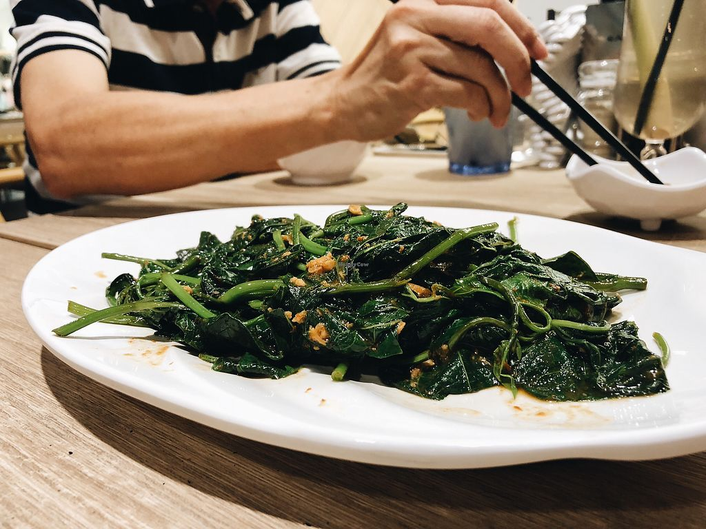 """Photo of Green Signature    by <a href=""""/members/profile/consciouscookieee"""">consciouscookieee</a> <br/>Sweet potato leaves with minced 'pork' & sambal sauce <br/> April 15, 2018  - <a href='/contact/abuse/image/107812/386261'>Report</a>"""