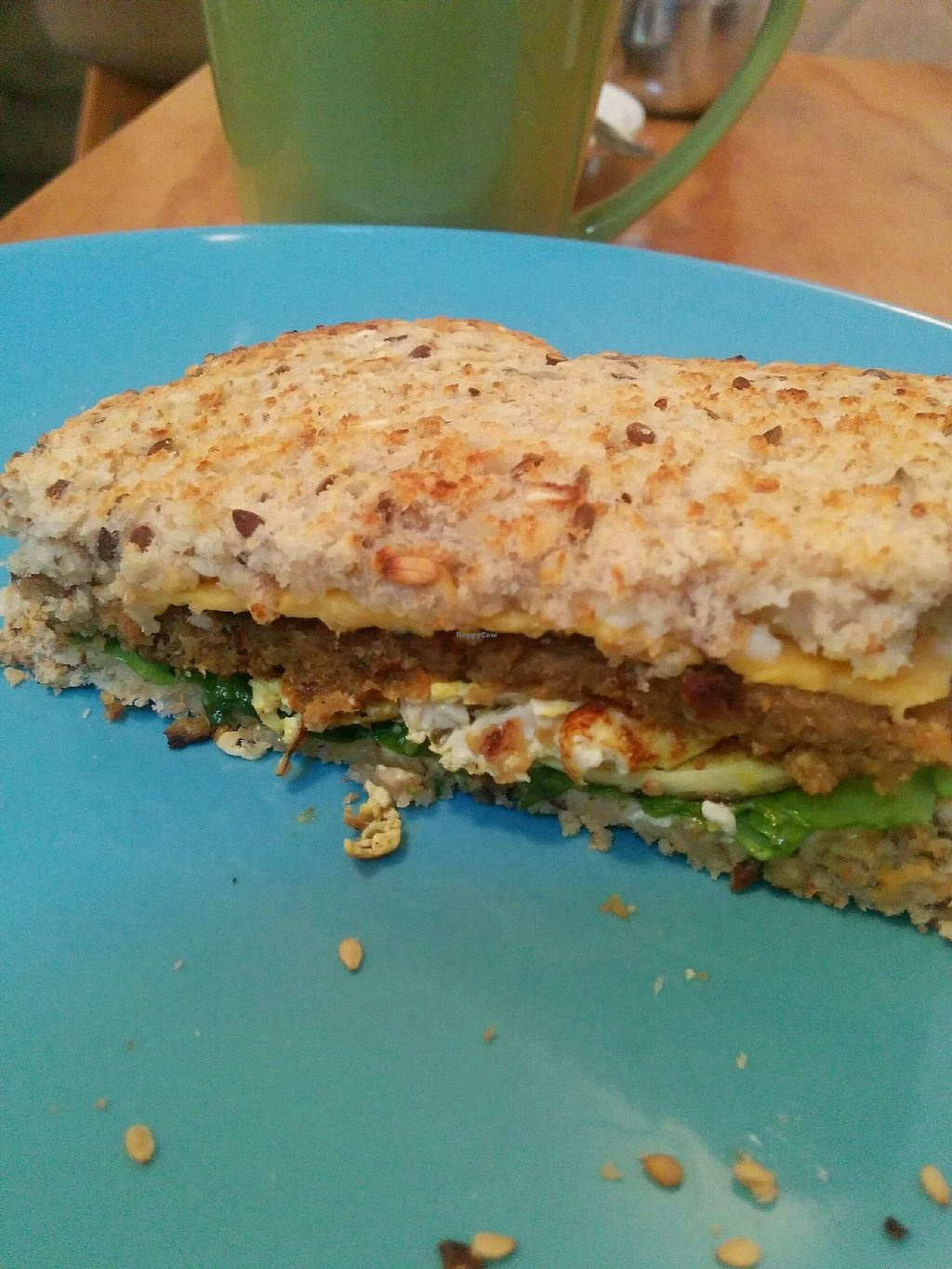 """Photo of Cali Cafe  by <a href=""""/members/profile/Bellalicious"""">Bellalicious</a> <br/>Breakfast sandwich, silken tofu, veg patty and it's delicious! <br/> April 10, 2018  - <a href='/contact/abuse/image/107821/383296'>Report</a>"""