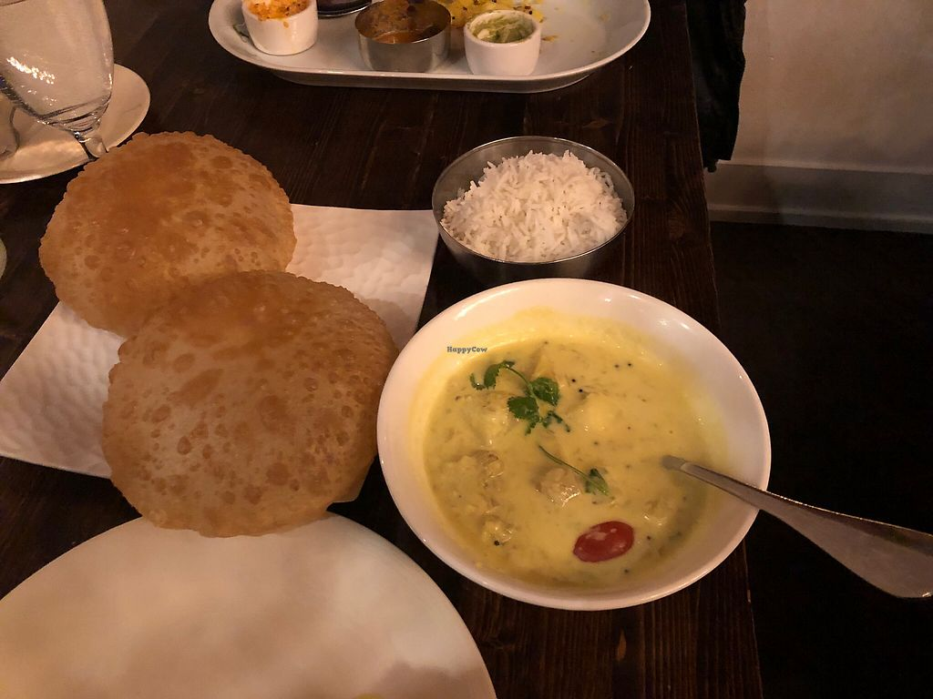 """Photo of Kathakali Indian Cuisine  by <a href=""""/members/profile/Arti"""">Arti</a> <br/>Poori bread with jackfruit and potato curry <br/> January 15, 2018  - <a href='/contact/abuse/image/107834/346793'>Report</a>"""