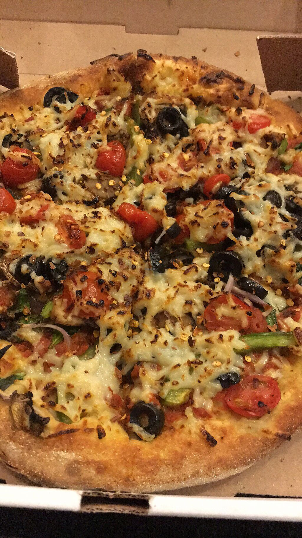 "Photo of Pizzolis  by <a href=""/members/profile/LaurenMilord"">LaurenMilord</a> <br/>Veggie pizza wth vegan cheese for an extra $2 <br/> March 31, 2018  - <a href='/contact/abuse/image/107853/378977'>Report</a>"