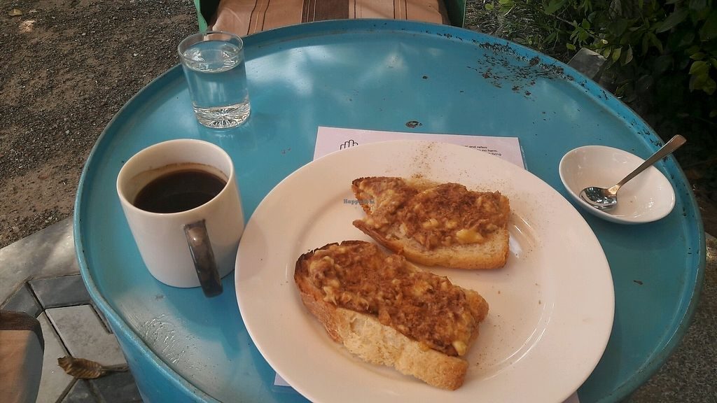 "Photo of Ahimsa Vegan Cafe  by <a href=""/members/profile/Pihlkjaer"">Pihlkjaer</a> <br/>Peanut and banana toast. Tasty as f*ck <br/> December 25, 2017  - <a href='/contact/abuse/image/107867/338987'>Report</a>"