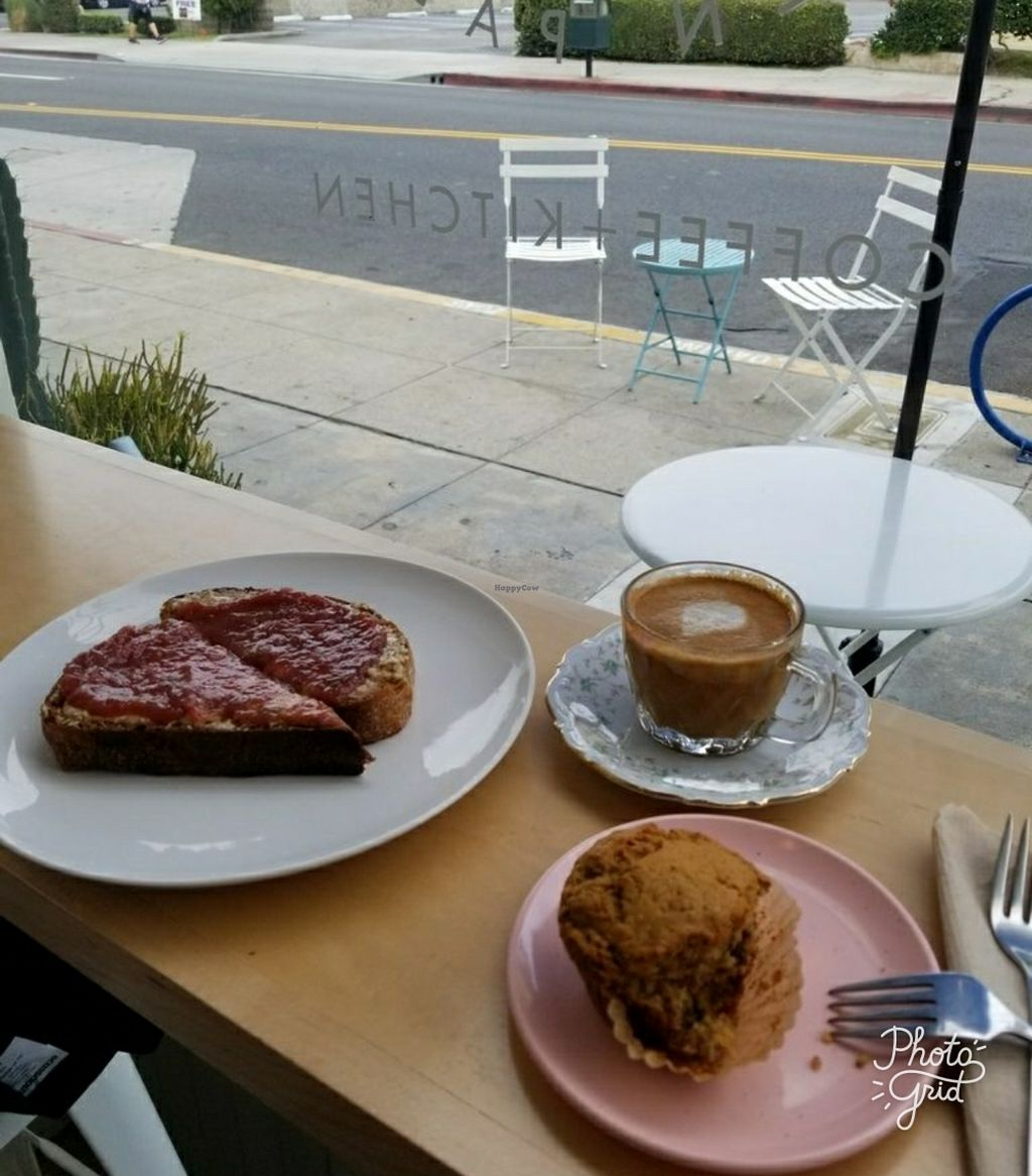 """Photo of Wide Eyes Open Palms  by <a href=""""/members/profile/Lety"""">Lety</a> <br/>Right to left - Almond butter toast w/Rhubard Jam, Lattè w/housemade macadamia-almond milk & vegan muffin of the day <br/> December 24, 2017  - <a href='/contact/abuse/image/107885/338759'>Report</a>"""