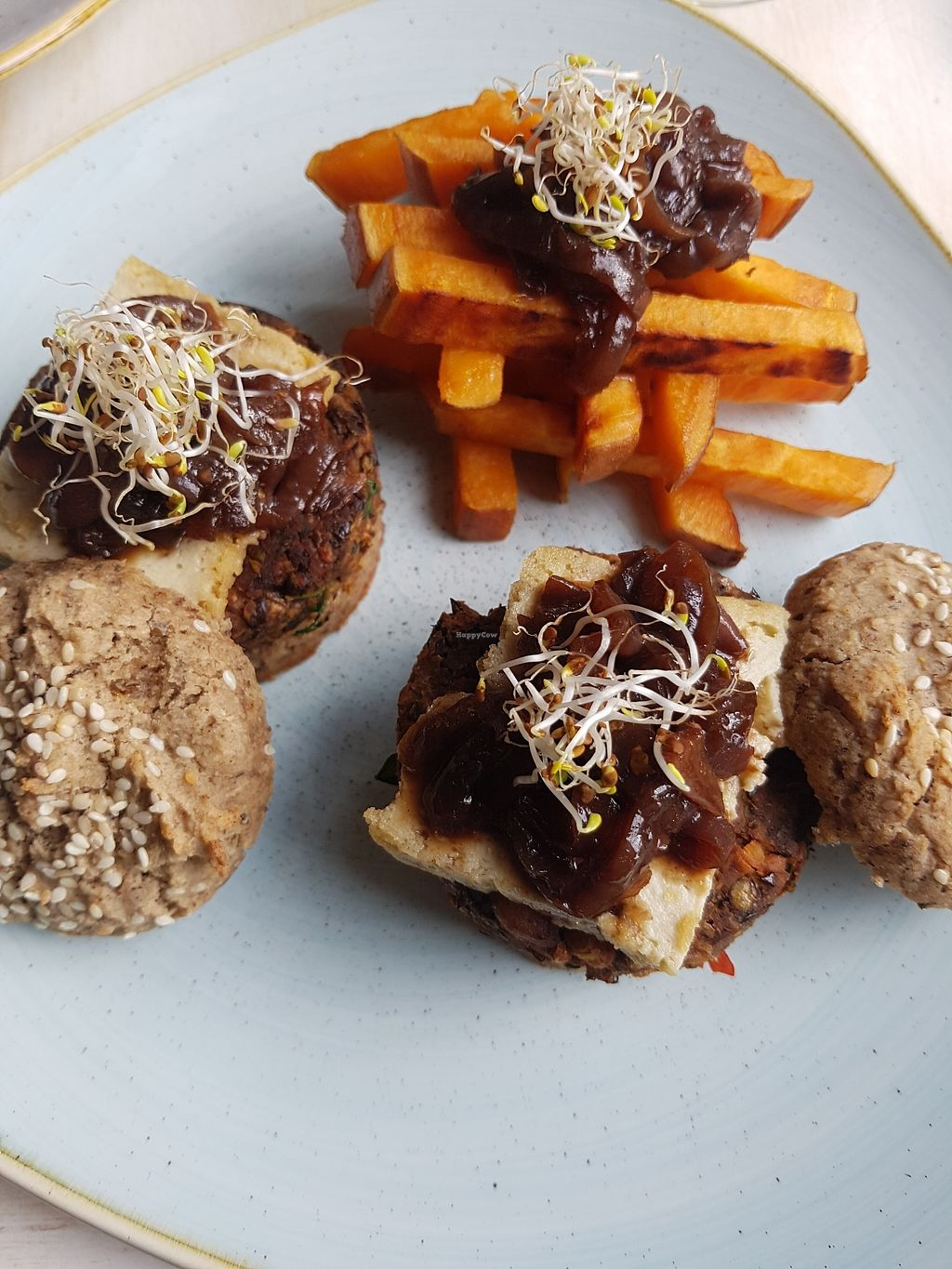 """Photo of Glow  by <a href=""""/members/profile/estefinparis"""">estefinparis</a> <br/>Veggie burger with homemade almond cheese and sweet potato  <br/> March 30, 2018  - <a href='/contact/abuse/image/107923/378313'>Report</a>"""