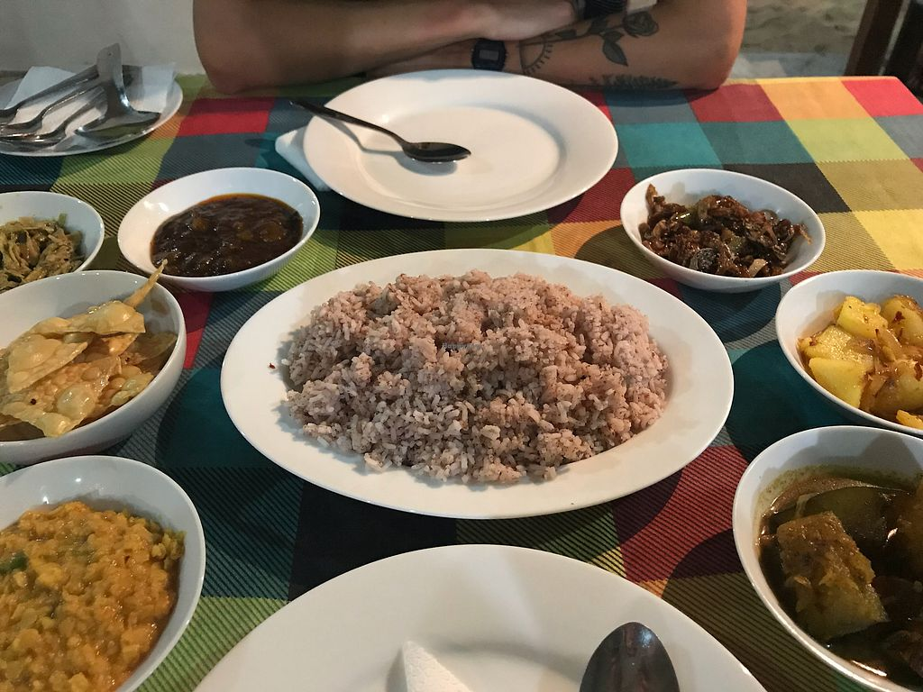 """Photo of Bookworm Library Restaurant  by <a href=""""/members/profile/Shannybadds"""">Shannybadds</a> <br/>Dahl, eggplant curry, pumpkin curry, mushroom curry & home made mango chutney  <br/> April 8, 2018  - <a href='/contact/abuse/image/107925/382221'>Report</a>"""