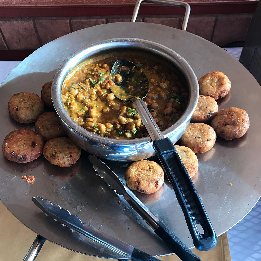 """Photo of Desi Dhaba  by <a href=""""/members/profile/Sarah%20P"""">Sarah P</a> <br/>Potato patties and chickpeas <br/> December 25, 2017  - <a href='/contact/abuse/image/107938/339082'>Report</a>"""