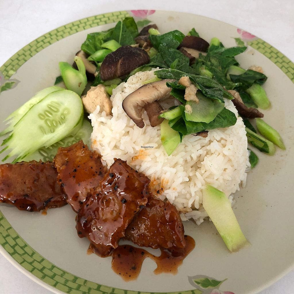"""Photo of Kingliew Vegetarian  by <a href=""""/members/profile/earthville"""">earthville</a> <br/>Kale with two faux meats <br/> February 21, 2018  - <a href='/contact/abuse/image/107962/361910'>Report</a>"""