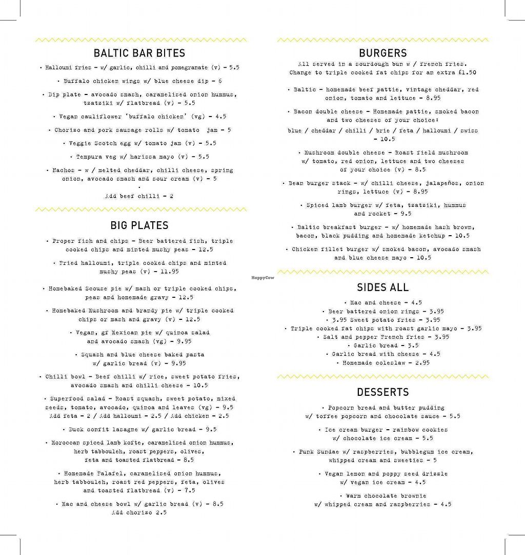 """Photo of The Baltic Social  by <a href=""""/members/profile/avocado_jess"""">avocado_jess</a> <br/>Menu with vegan options labelled  <br/> December 28, 2017  - <a href='/contact/abuse/image/108006/339876'>Report</a>"""