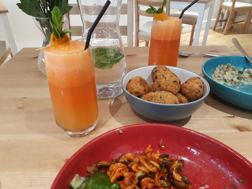 "Photo of Mon Way Bistro & Cocktail Bar  by <a href=""/members/profile/LauraMu"">LauraMu</a> <br/>Fresh juices and arancini balls <br/> March 30, 2018  - <a href='/contact/abuse/image/108048/378404'>Report</a>"