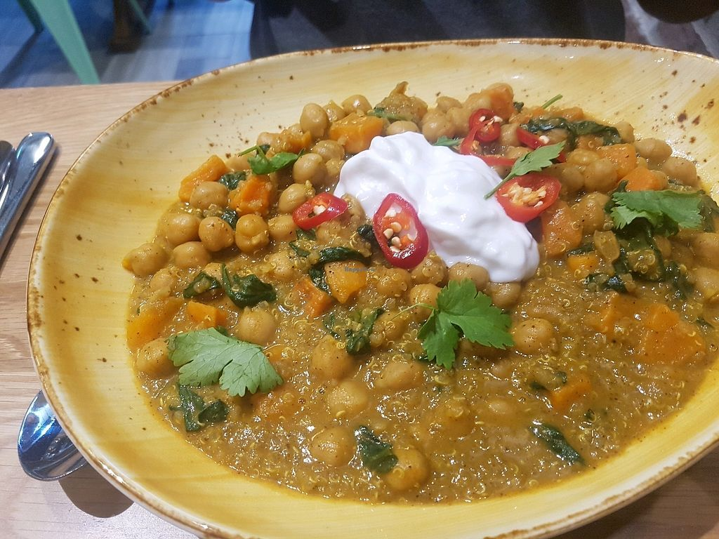 "Photo of Health Freak Cafe  by <a href=""/members/profile/DrMary"">DrMary</a> <br/>chickpea spinach sweet potato curry <br/> January 7, 2018  - <a href='/contact/abuse/image/108072/343801'>Report</a>"