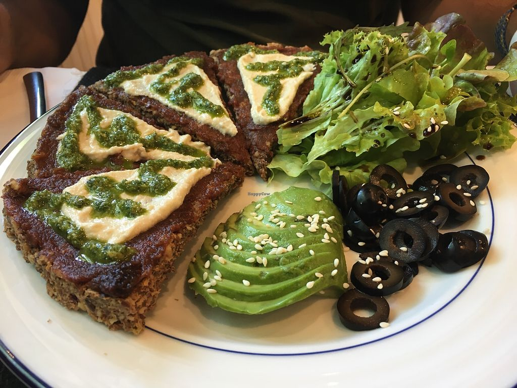 """Photo of Rawdical Vegan Kitchen  by <a href=""""/members/profile/peas-full"""">peas-full</a> <br/>raw pizza <br/> December 29, 2017  - <a href='/contact/abuse/image/108126/340265'>Report</a>"""