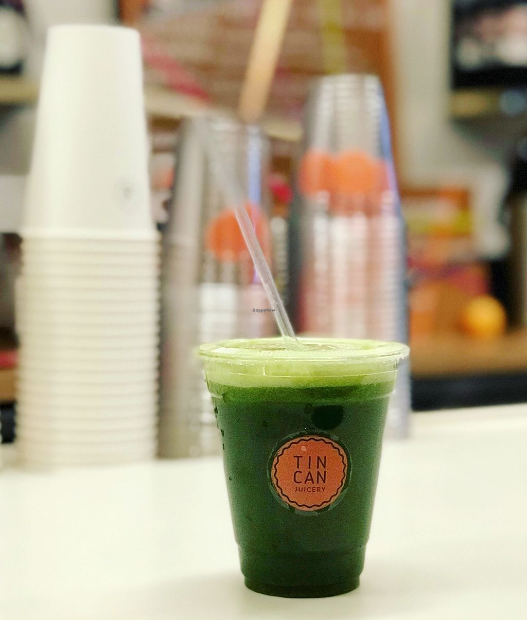 """Photo of Tin Can Juicery  by <a href=""""/members/profile/tincankelly"""">tincankelly</a> <br/>The Norm - kale, spinach, parsley, celery, cucumber, green apple <br/> December 29, 2017  - <a href='/contact/abuse/image/108144/340543'>Report</a>"""