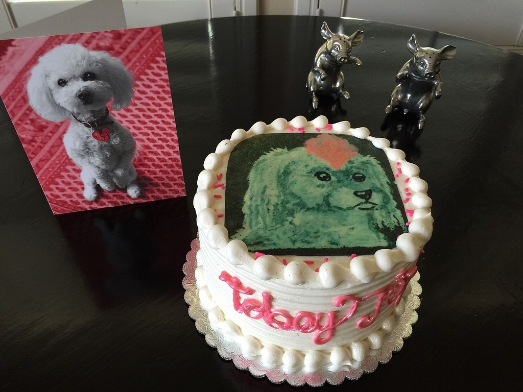 "Photo of Sweetie Pies Bakery  by <a href=""/members/profile/Napa%20Valley%20Vegan"">Napa Valley Vegan</a> <br/>Custom made vegan birthday cake with our beloved dog Tobey Jug! <br/> December 30, 2017  - <a href='/contact/abuse/image/108187/340770'>Report</a>"