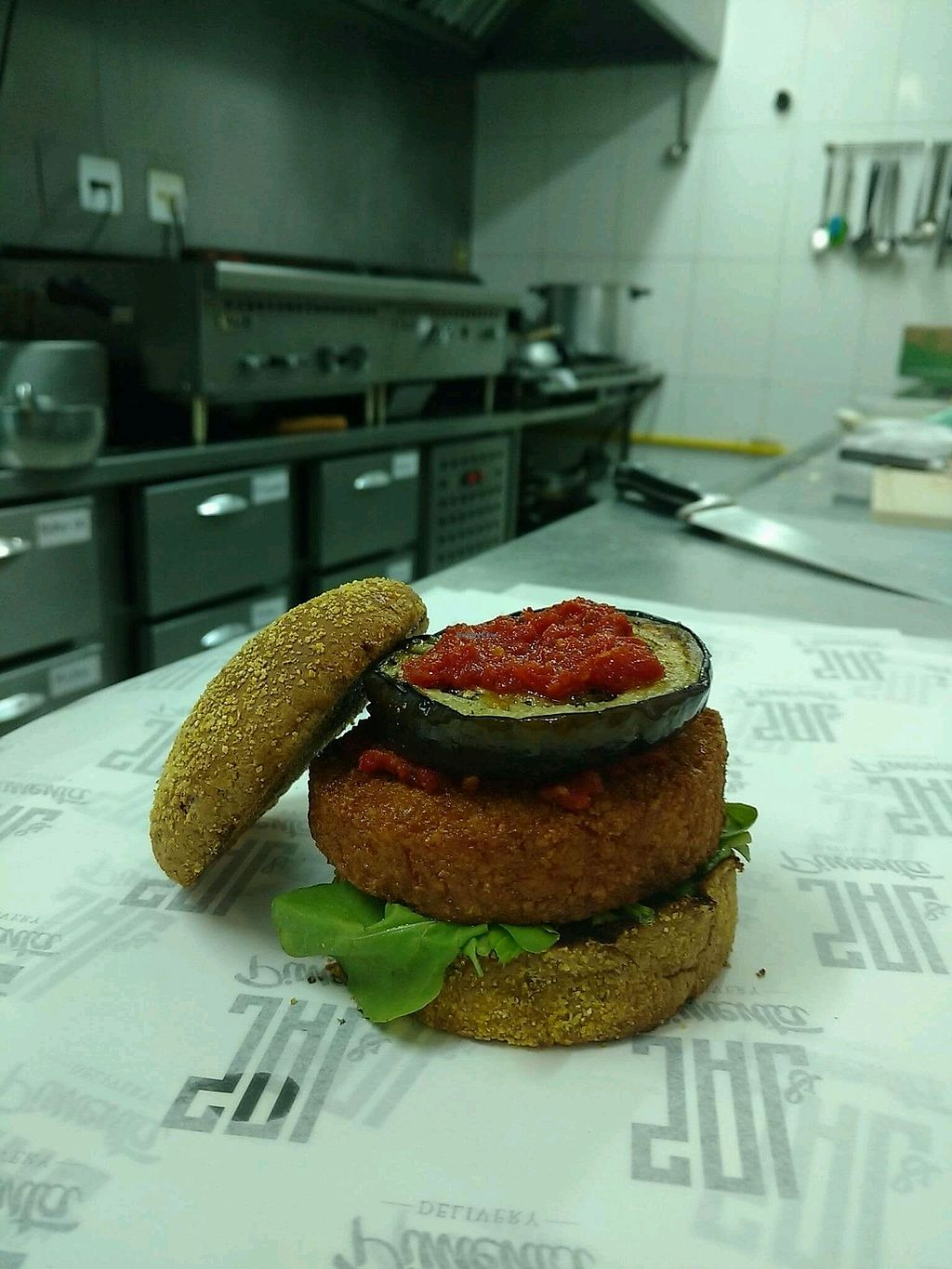 "Photo of Sal & Pimenta Delivery  by <a href=""/members/profile/VictoriaZircker"">VictoriaZircker</a> <br/>Vegan burger: cocoa bun, arugula, chickpea patty, sun dried tomatoes pesto, red onion and grilled eggplant <br/> December 30, 2017  - <a href='/contact/abuse/image/108195/340679'>Report</a>"