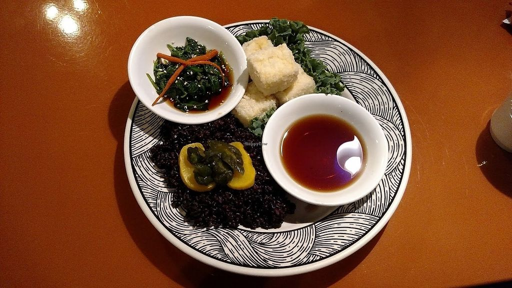 """Photo of Zen of Sushi  by <a href=""""/members/profile/AmyFord"""">AmyFord</a> <br/>Agedashi Tofu with a side of Forbidden rice and spinach salad. Gluten-free non-GMO <br/> December 30, 2017  - <a href='/contact/abuse/image/108202/340865'>Report</a>"""